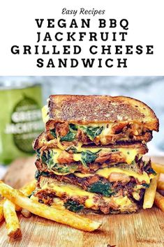 Vegan BBQ Jackfruit Grilled Cheese Sandwich Ingredients: 1 can young jackfruit. I got mine from Trader Joe's. (Drained and patted dry. Vegan Bbq Recipes, Jackfruit Recipes, Grilled Cheese Recipes, Veggie Recipes, Cooking Recipes, Healthy Recipes, Grilled Cheeses, Vegan Food, Burger Recipes