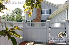 """V3701-6L103. Vinyl Privacy T&G fence with Framed Victorian Picket Topper. Shown in Grand Illusions Color Spectrum Seacoast Gray (L103) with Majestic 8"""" x 8"""" posts."""