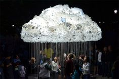 CLOUD is a large scale interactive installation by artist Caitlind r.c. Brown that appeared September 15th as part of Nuit Blanche Calgary in Alberta, Canada. http://www.thisiscolossal.com/2012/09/an-interactive-cloud-made-of-6000-lightbulbs/
