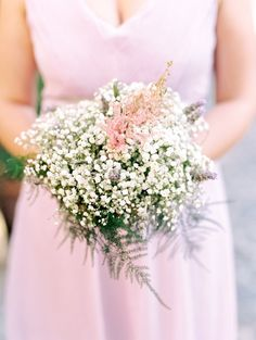 Wedding Bouquets Inspiration : Baby's Breath bouquet with a pop of color: www. Fall Wedding Bridesmaids, Bridesmaids And Groomsmen, Bridesmaid Flowers, Wedding Bouquets, Wedding Flowers, Floral Bouquets, Bridesmaid Dress, Wedding 2015, Italy Wedding