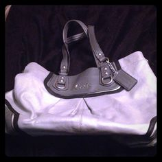 Authentic Coach Bag Silver and grey authentic leather Coach bag. Great condition! Coach Bags Shoulder Bags