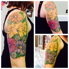 Realistic flower piece by Joanne #devilsowntattoos #devilsown #leicestertattoo #leicester #tattoo #realistictattoo #flowertattoo #flowers #colourtattoo #armtattoo #cutatattoo