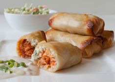 Buffalo Chicken Rolls.  They are beyond perfect for appetizers. Beyond perfect for nagging comfort food craving. Beyond satisfying knowing that bar food has been turned inside out and healthy.