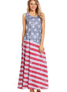 fd122f0948 Hualong Sleeveless Summer American Flag Maxi Dress