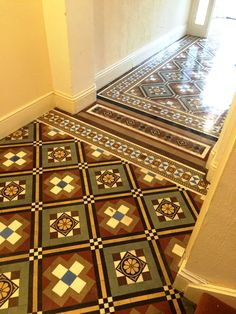 These photographs were taken at a large shared block of flats in the seaside town of Eastbourne. Recently a decision was made to replace the carpet in the entrance hallway and they discovered a lovely but damaged Victorian tiled floor underneath. A decision was made to restore the floor back to its former glory and we were asked to do the work.