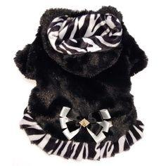 Capa para Cachorro Dupla Face Pelúcia Zebra com Capuz Dudog Vest - MeuAmigoPet.com.br #petshop #cachorro #cão #meuamigopet
