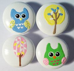 Owl and tree dresser knobs hand painted in pastel colors - lime green, light blue, yellow and soft pink.  Designed to match the Brooke Collection at Pottery Barn Kids.  Find them at The Little Nursery for $6 each