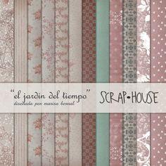 """Scraphouse. Papeles para scrapbooking """"El jardin del tiempo"""" diseñados por Marisa Bernal para ScrapHouse en 2012.  https://es.pinterest.com/naltin/colecci%C3%B3n-de-papeles-el-jard%C3%ADn-del-tiempo/"""