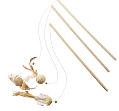 EXPAWLORER Love Cat Boutique Natural Wooden Wand Feather Teaser Mouse Kitten Toys 16' 32' * Learn more by visiting the image link. (This is an Amazon affiliate link)