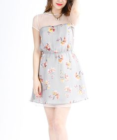 This Gray Floral Sheer Shoulder Dress by El Chic is perfect! #zulilyfinds