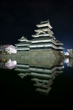 Castle and Cherry Blossoms (Matsumoto Castle, Japan) by peaceful-jp-scenery on Flickr