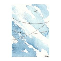 Several black birds fly on the wires overheard against a pretty blue sky.    This is an original, hand painted watercolor, NOT a print.  A one of a