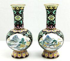 Vintage Chinese Enamel Painted Vases Landscape Famille Noire Cloisonne Style