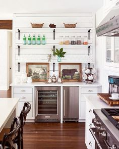 Farmhouse inspired kitchen  - Love the open shelves