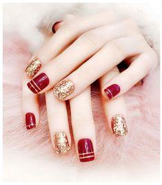 Acrylic Fake Fingernails Glitter Full 24 Pcs Red Gold Artificial Nail Tips DIY Grey acrylic nails Red And Gold Nails, Silver Glitter Nails, Pink Nails, Pink Glitter, Party Nails, Diy Nail Designs, Artificial Nails, Beautiful Nail Art, Nail Arts