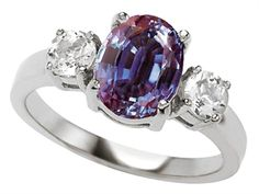 925 Sterling Silver 14K White Gold Plated Lab Created Oval Alexandrite Engagement Ring