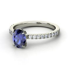 Oval Sapphire Platinum Ring with Diamond   Colette Ring   Gemvara