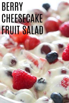 Berry Cheesecake Fruit Salad Six Sisters' Stuff Cheesecake Fruit Salad, Fruit Salad Recipes, Easy Fruit Salad, Cream Cheese Fruit Salad, Creamy Fruit Salads, Cheesecake Desserts, Berry Fruit Salads, Fruit Salad Pudding, Summer Berry Cheesecake Salad Recipe