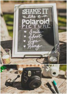 Guest book with polaroid pictures Photo Polaroid, Polaroid Pictures, Polaroids, Polaroid Cameras, Trendy Wedding, Our Wedding, Dream Wedding, Wedding Ideas, Wedding Games