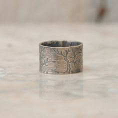 Tree Ring - Mens Wedding Band - Tree Ring Jewelry - Sterling Silver Ring - Etched Trees - Rustic Tree Ring on Etsy, $175.00