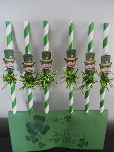 St. Patrick's Day Paper Straws with vintage inspired Leprechauns and green tinsel on front, St. Patrick Day party decorations, Straws