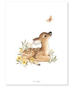 Lámina infantil Cervatillo - Art Tutorial and Ideas Hirsch Illustration, Deer Illustration, Watercolor Illustration, Hirsch Wallpaper, Deer Wallpaper, Cute Animal Drawings, Cute Drawings, Baby Deer Tattoo, Illustration Mignonne