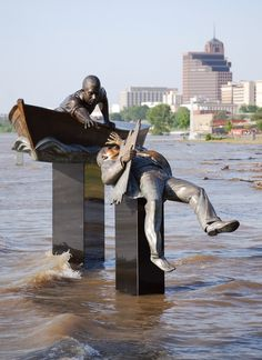 David Alan Clark - Tom Lee Monument, Memphis Tennessee. The monument unintentionally mimicked real life in May 2011, when the Mississippi River flooded so high that it completely submerged the pedestal. The boat really did look like it was afloat.