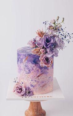 Elegant Birthday Cakes, Pretty Wedding Cakes, Purple Wedding Cakes, Beautiful Birthday Cakes, Amazing Wedding Cakes, Elegant Cakes, Happy Birthday Cakes, Pretty Cakes, Cute Cakes