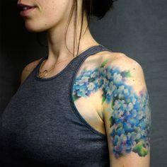 Hydrangea watercolor tattoo by Pete Zebley in Philadelphia, PA.