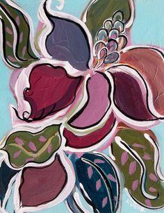 Abstract floral original painting modern botanical acrylic