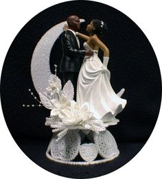 Bald Hispanic / Black AfricanAmerican groom and by YourCakeTopper, $54.00