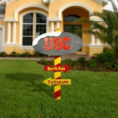 USC Trojans Wooden North Pole Sign - Cardinal/Gold