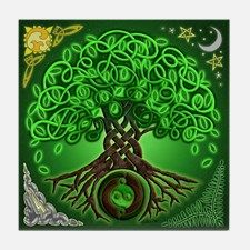 Circle Celtic Tree of Life Tile Coaster for