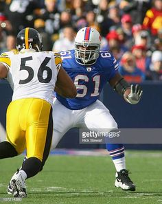 9755b2c96dc Mansfield Wrotto of the Buffalo Bills plays against LaMarr Woodley  Pittsburgh Steelers at Ralph Wilson Stadium