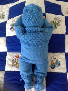 Newborn Baby Boy Coming Home Sweater Pants by Meganknits4charity
