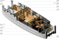 Take a look at this slick houseboat design. Floating Architecture, Amazing Architecture, House Yacht, Trailerable Houseboats, Boat Projects, Rooftop Deck, Canal Boat, Floating House, Boat Design