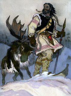 Illustration by Nicolai Kochergin from Kalevala ~ Lemminkainen comes to Pohjola Viking Culture, Scandinavian Folk Art, Russian Painting, Norse Mythology, Art And Illustration, Conte, Traditional Art, Helsinki, Illustrators