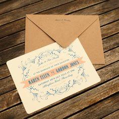 letterpress wedding stationery, vintage wedding stationery, Artcadia, UK