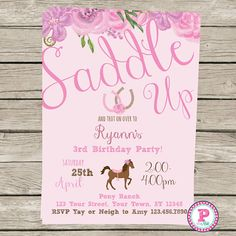 Horse Pony Party Invitation Front Back Pink Birthday Horseshoe Saddle Up Wood Digital File or Prints Horseback Riding Farm Cowgirl Floral Horse Birthday Parties, Cowgirl Birthday, Farm Birthday, Pink Birthday, Birthday Wishes, Birthday Invitations, Birthday Crafts, Third Birthday, Birthday Ideas