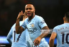 Raheem Sterling of Manchester City celebrates after scoring his sides first goal during the Premier League match between Manchester City and Watford at Etihad Stadium on January 2, 2018 in Manchester, England.
