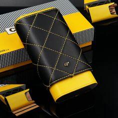 COHIBA Black&Yellow Leather Adjustable Cedar Wood Travel Cigar Case Humidor in Collectables, Tobacciana/ Smoking, Cigarette Cases | eBay
