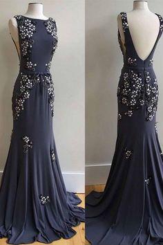 Dark gray chiffon round neck open back beading mermaid prom dresses,long evening dress