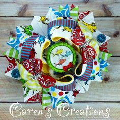 Dr. Seuss stacked boutique bow, One Fish Two Fish Red Fish Blue Fish, hair bow, bow, Dr. Seuss birthday, over the top