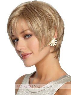 Sleek Straight Short Shag Synthetic Wig