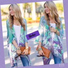 Listing! Last One! 5's! Purple & Green Kimono! Flowy Chiffon Slit up the sides! This one is marked as a size large but will work for a small to large IMO. Great layering piece! NWOT removed from package to inspect  Boutique Tops Tunics