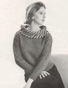 Vintage 1960s Mad Men Turtle Neck Slipover Sweater with Stripe Roll Collar Knitting Pattern PDF 6205. $3.74, via Etsy.
