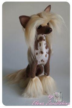 Needle felted Dog /Chinese Crested Dog by Felteddoggie on Etsy