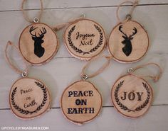 DIY Wood Slice Christmas Ornaments I Upcycled Treasures How to make personalized wood slice Christmas ornaments using an easy transfer to wood method.