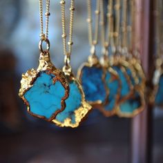 Fancy - Small Turquoise Chunk Necklace by Lux Divine LOVE THIS