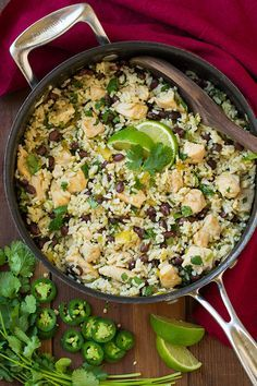 One Pan Cilantro-Lime Chicken and Rice with Black Beans - Cooking Classy. Looks delish! Healthy Cooking, Healthy Eating, Cooking Recipes, Healthy Recipes, Healthy Meals, One Pot Meals, Easy Meals, Great Recipes, Dinner Recipes